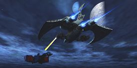 stock photo of battleship  - A lighter and more maneuverable spaceship blasts a laser beam toward a enemy battleship - JPG