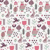 foto of swallow  - Sweet seamless pattern with birds swallows - JPG