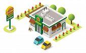 stock photo of isometric  - Vector isometric fast food building icon - JPG