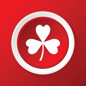 image of red clover  - Round white icon with image of clover leaf - JPG