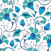 pic of swirly  - vector blue green swirly flowers seamless pattern background graphic design - JPG