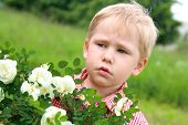 picture of allergy  - Dissatisfied child near the flowers - JPG