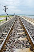 foto of dam  - Railroad tracks into the reservoir Pa Sak Jolasid Dam Lopburi Thailand - JPG