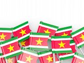 foto of suriname  - Flag pin of suriname isolated on white - JPG