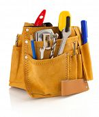 stock photo of leather tool  - tools and instruments in belt isolated on white background - JPG
