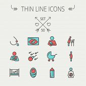 stock photo of bassinet  - Medicine thin line icon set for web and mobile - JPG