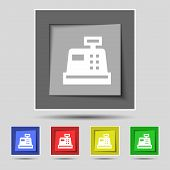 picture of cash register  - Cash register icon sign on the original five colored buttons - JPG