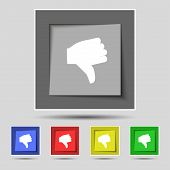picture of dislike  - Dislike Thumb down icon sign on the original five colored buttons - JPG