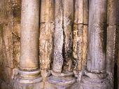 image of golgotha  - Columns at the entrance to Church of the Holy Sepulchre  - JPG