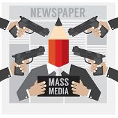 pic of kidnapped  - Mass Media Is The Hostage Vector Illustration - JPG