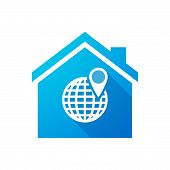 picture of blue things  - Illustration of a blue house icon with a world globe - JPG