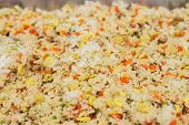 foto of chinese parsley  - Asian fried rice with eggs corn and parsley close - JPG