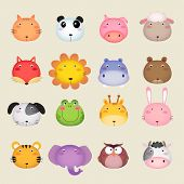 stock photo of pig head  - Illustration of a cute animal head collection set - JPG