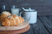 picture of croissant  - Fresh baked croissants croissants with soft almond filling - JPG