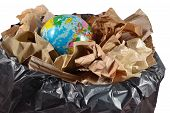 picture of save earth  - Globe in the garbage bin - JPG