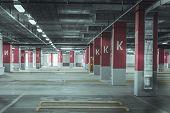 stock photo of parking lot  - Empty parking lot wall - JPG