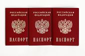 image of passport cover  - an image of Russian passport on a white background - JPG