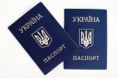 foto of passport cover  - an image of Ukrainian passports on a white background - JPG