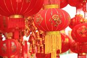 pic of chinese crackers  - chinese red lantern and fake firecrackers - JPG