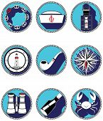 image of nautical equipment  - Nautical Elements IV Icons In Knotted Circle with drop down shadow element - JPG