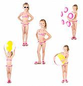 pic of little girls photo-models  - Collection of photos cute little girl with ball and inflatable rubber ring in sunglasses isolated on a white - JPG