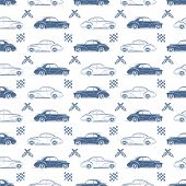 foto of muscle-car  - Vintage seamless pattern with cars - JPG