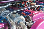 picture of carburetor  - Powerfull engine of a luxurous sport car - JPG