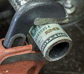pic of twenty dollars  - Photograph of pipe wrench gripping twenty dollar bill - JPG