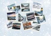 foto of snowy hill  - Winter photo collage of Norway on a snowy  background - JPG