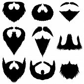 stock photo of rogue  - Mustaches and Beards Collection Isolated on White Background - JPG