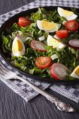 picture of sorrel  - Salad of eggs radishes and sorrel close up on the table - JPG