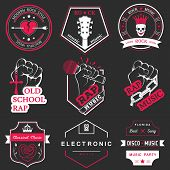 stock photo of music symbol  - Set of vector badges and logos of rock music and rap classical music electronic music and disco - JPG