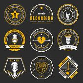 Постер, плакат: Set Of Vintage Badges Of Rock Music And Rock And Roll