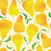 image of greeting card design  - Seamless pattern with watercolor pears - JPG
