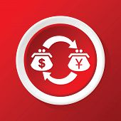 picture of yen  - Round white icon with image of dollar - JPG