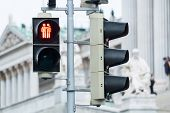 stock photo of gay symbol  - Traffic light Vienna for more tolerance stoplight with same - JPG