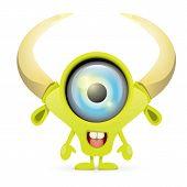 pic of centaur  - Green Cartoon cute monster isolated on white - JPG