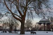 Sunrise on wintery Clapham Common