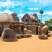 Постер, плакат: Ancient Hindu Monolithic Indian Rock cut Architecture Pancha Rathas Five Rathas Mahabalipuram Ta