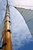 Jib And Wooden Mast Of Schooner Sailboat
