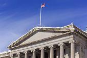 Treasury Department Us Flag After The Snow Pennsylvania Avenue Washington Dc