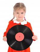 Girl Holds Vinyl Record On White
