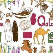 Постер, плакат: Sketch Qatar Seamless Pattern
