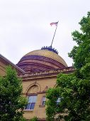 American Flag Over Courthouse