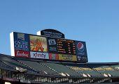 Oakland-alameda County Coliseum Two Screen Scoreboard