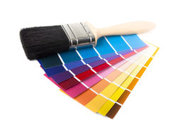 picture of paint pot  - paintbrush and swatches isolated on a white background - JPG