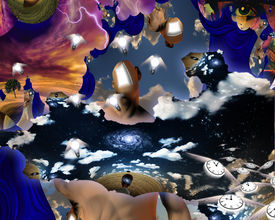 stock photo of dadaism  - High Resolution 3D Illustration Dreamers mind revealed in this scene - JPG