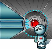 Cute robot against technological background