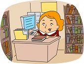 Illustration of a Librarian at Work
