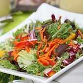 Mixed Fresh Salad With Peppers, Lettuce, Tomatoes And Carrot